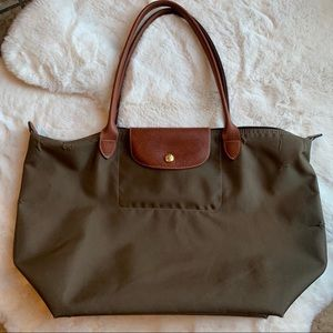 Longchamp Le Pliage Khaki Large Long Handle